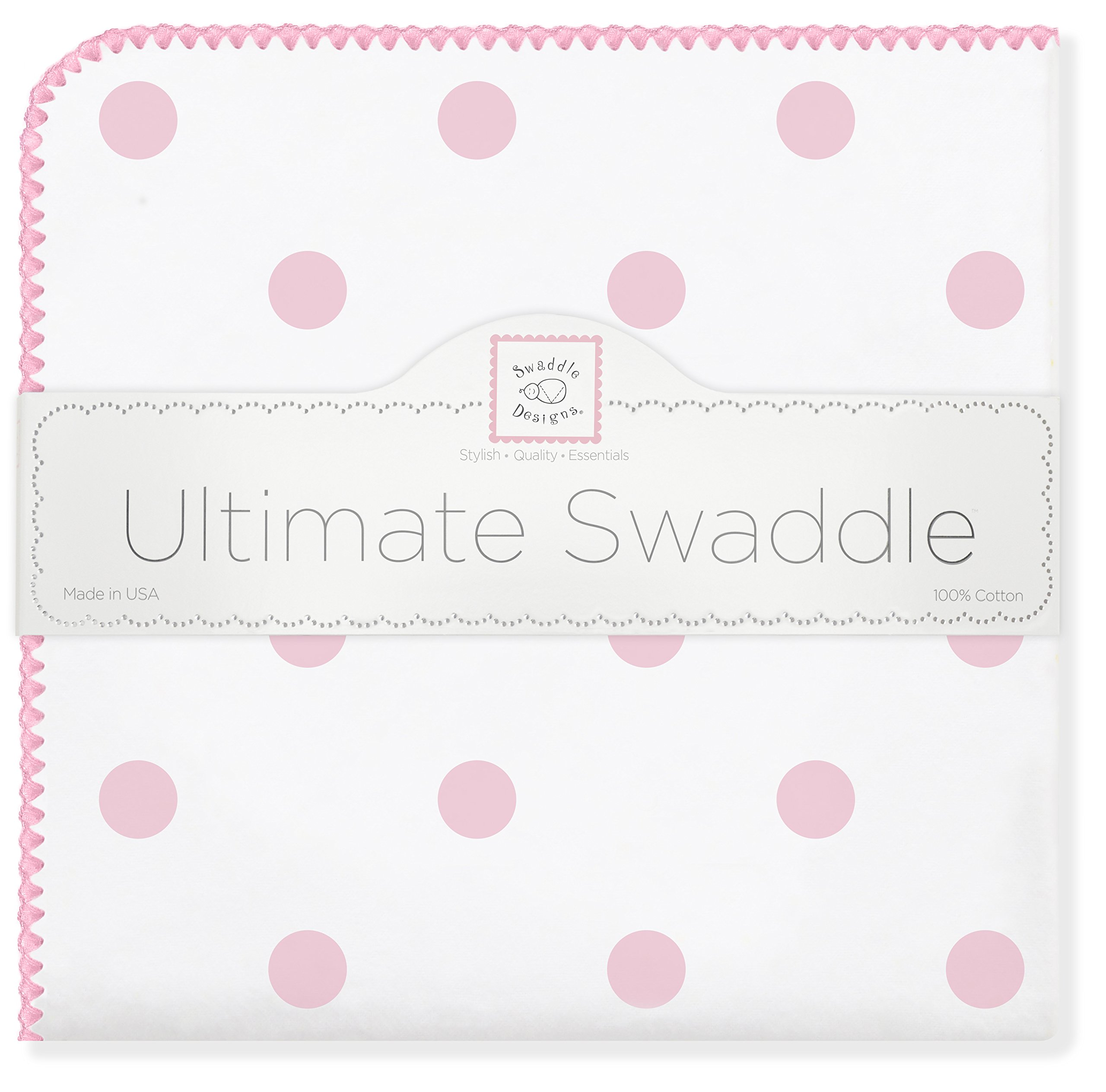 SwaddleDesigns Ultimate Swaddle Blanket, Made in USA, Premium Cotton Flannel, Pink Big Dots