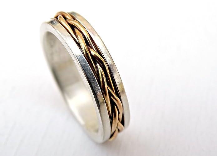 4f416fb6efa1c0 Amazon.com: celtic wedding band men, gold braided wedding ring viking, mens promise  ring gold braided, men proposal ring gold silver, woven band for him: ...