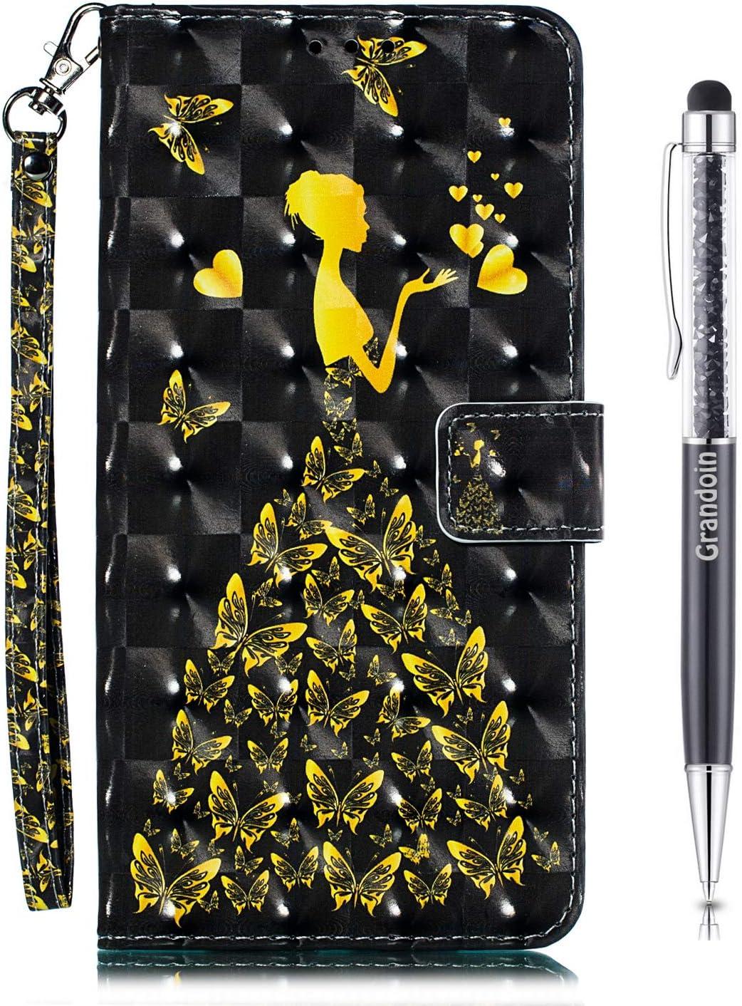 Grandoin Funda para iPhone 11 (6,1 Pulgadas), Superficie Colorida 3D PU Cuero Case Cuerpo Completo Carcasa Protectora Cartera Soporte Plegable Función Fundas Case Cover (Mujer)