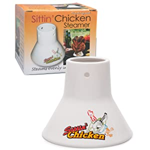 Cook's Choice Ceramic Steamer Beer Can Roaster- Sittin' Chicken Marinade Barbecue Cooker- Infuse delicious BBQ flavor