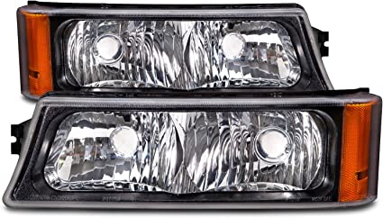 HEADLIGHTSDEPOT Black Housing Signal Lights Compatible with Chevrolet Avalanche Silverado 1500 2500 3500 2003-2006 Includes Left Driver and Right Passenger Side Signal Lights