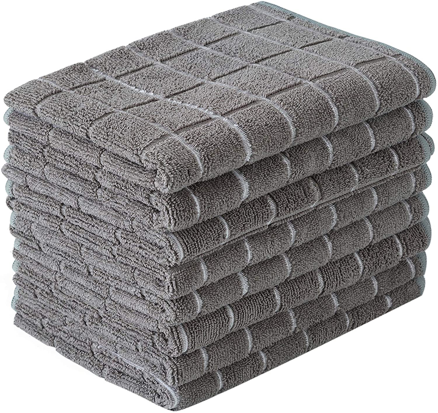 Microfiber Dish Towels - Soft, Super Absorbent and Lint Free Kitchen Towels - 8 Pack (Lattice Designed Gray Colors) - 26 x 18 Inch: Home & Kitchen