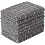 Microfiber Dish Towels - Soft, Super Absorbent and Lint Free Kitchen Towels - 8 Pack (Lattice Designed Gray Colors) - 26…