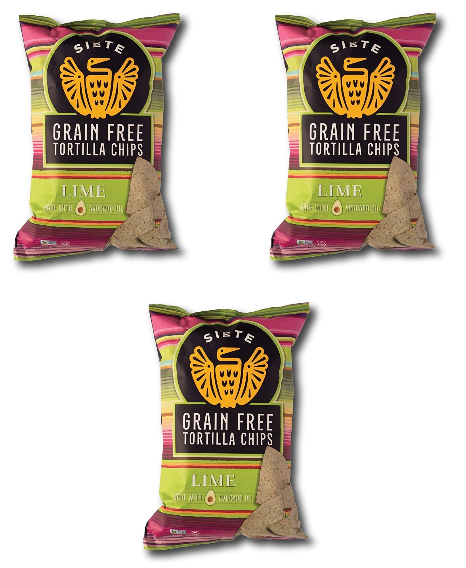 Siete Lime Grain Free Tortilla Chips, 5 oz bags, 3-Pack by Siete