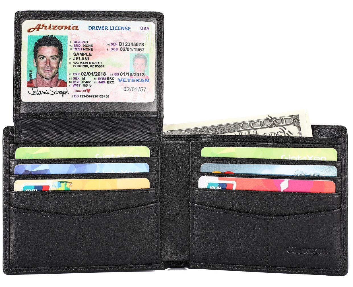 Mens Genuine Leather Bifold Wallet with 2 ID Window and RFID Blocking - Carbon Fiber Texture
