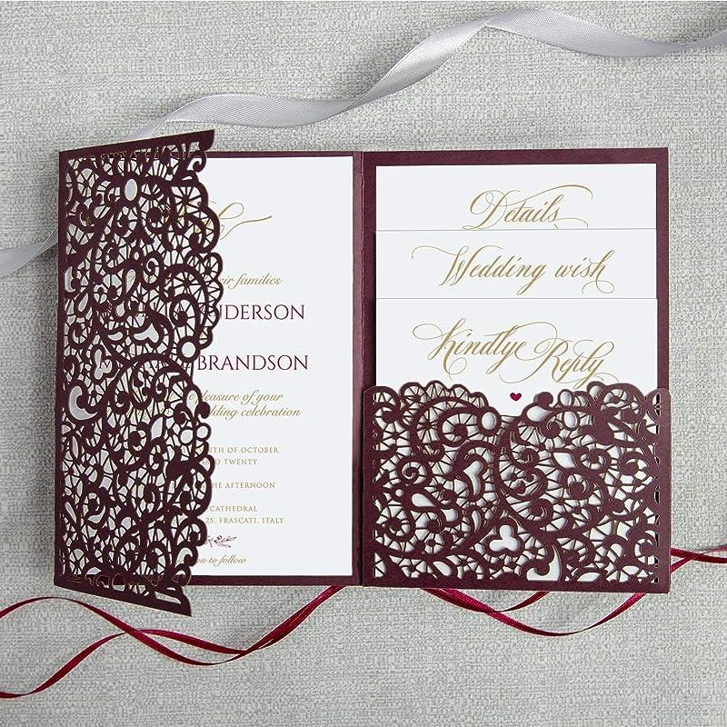 Wedding Invitations with Envelopes Laser Cut Cards Tri Fold Burgundy Marsala Wine Pocket with RSVP Elegant and Lace DIY kit PRE-PRINTED SAMPLE!