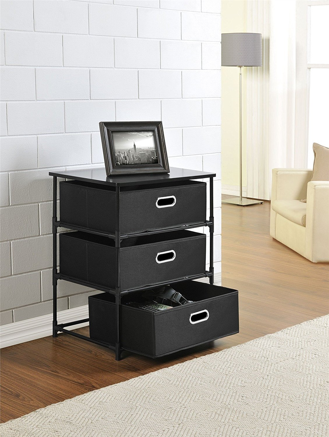 Indoor Multi-function Accent table Study Computer Desk Bedroom Living Room Modern Style End Table Sofa Side Table Coffee Table Three-Layer Storage Box