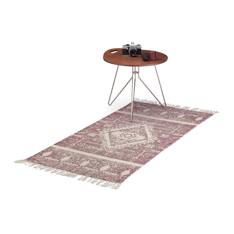 Relaxdays Tapis de couloir tapis en coton tiss/é tapis de passage motifs ethniques bordeaux 70 x 140 cm bordeaux beige