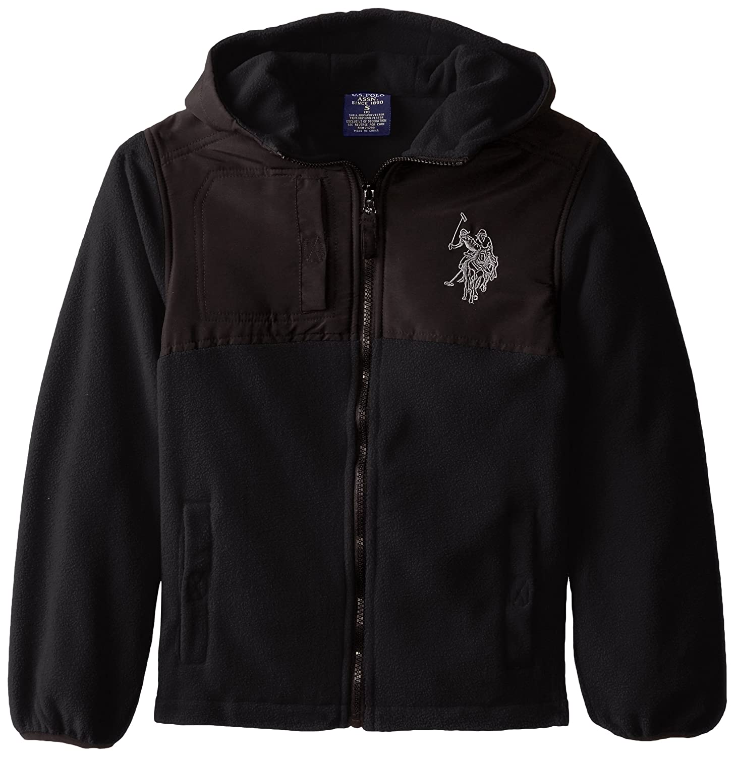 U.S. Polo Association Big Boys' Dewspo Trimmed Polar Fleece Jacket