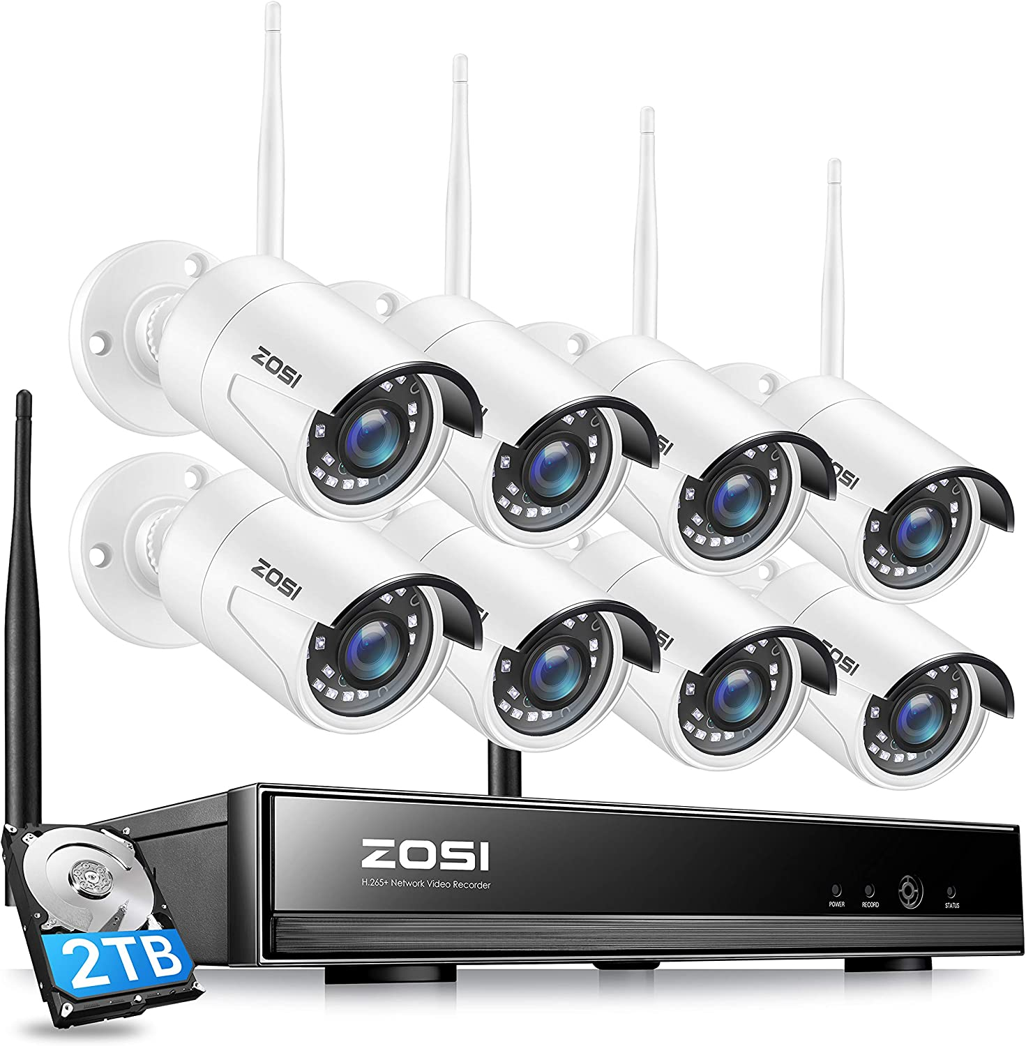 ZOSI H.265+ 8CH 1080P Wireless Security Camera System with 2TB Hard Drive,8Channel 1080P CCTV NVR, 8PCS 1080P 2.0MP Indoor Outdoor Surveillance IP Cameras with Night Vision,Motion Alert, Remote Access