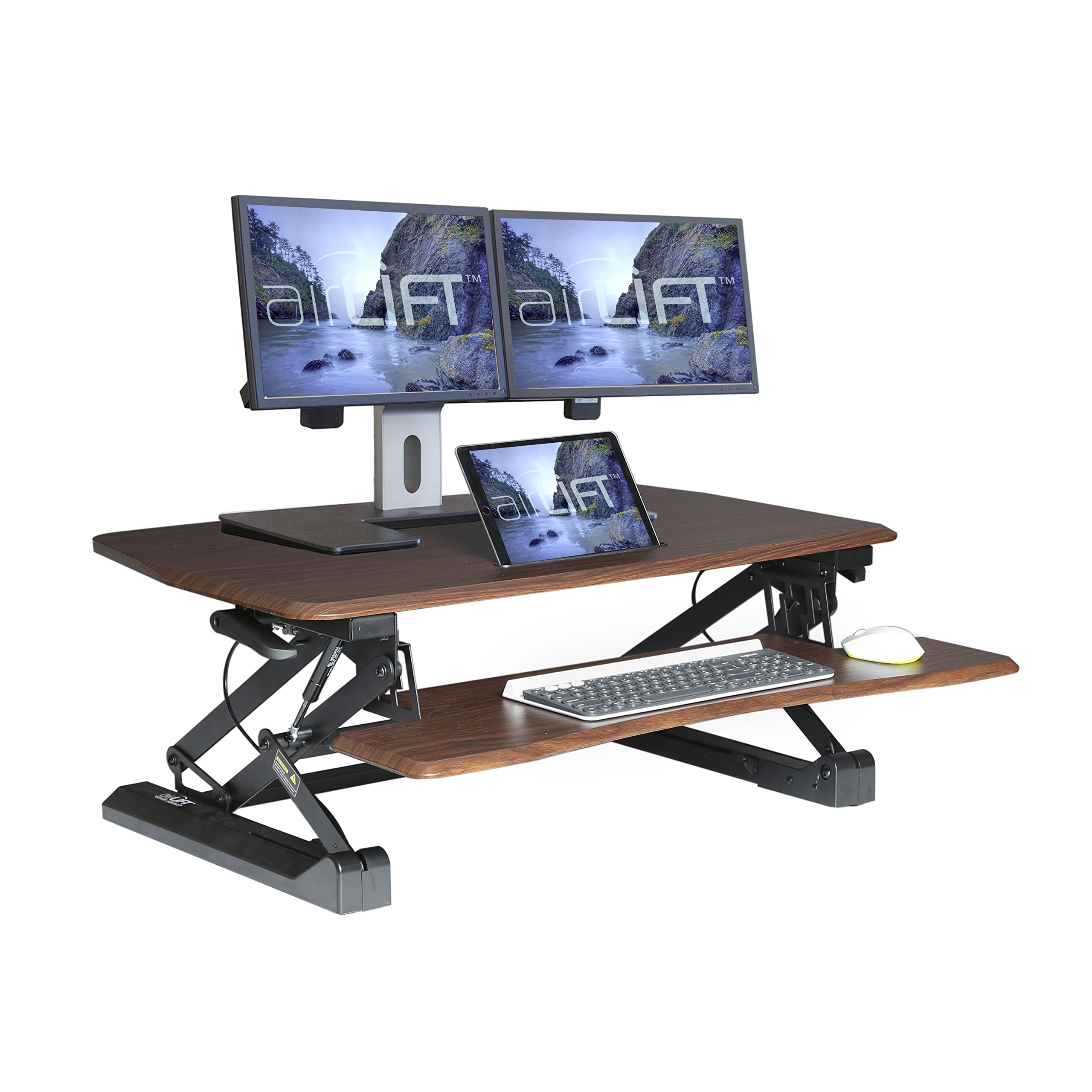 Seville Classics AIRLIFT 36'' Gas-Spring Height Adjustable Standing Desk Converter Workstation Ergonomic Dual Monitor Riser with Keyboard Tray and Phone/Tablet Holder, Walnut
