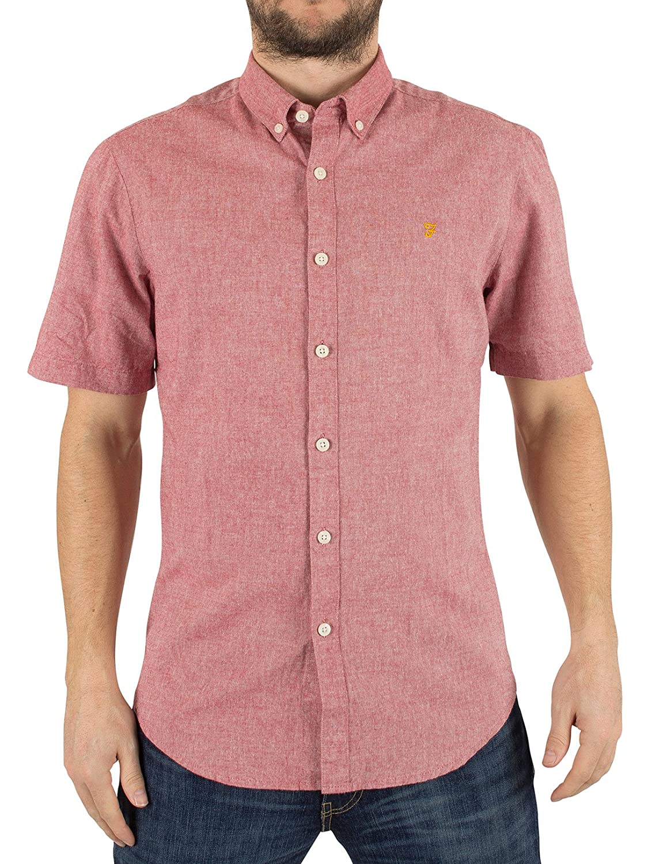 Farah Vintage Men's Steen Shortsleeved Slim Fit Logo Shirt, Pink