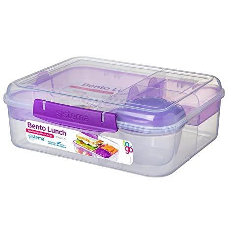 Sistema To Go Collection Bento Box Plastic Lunch and Food Storage  Container, 6 9 Cup, Multi Compartment, Color Varies | BPA Free