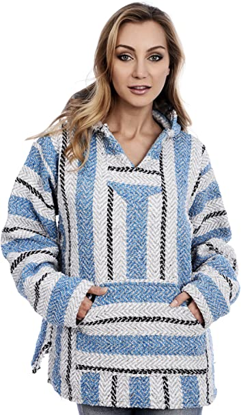 Teal Baja Joe Striped Woven Eco-Friendly Jacket Coat Hoodie
