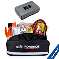 Kolo Sports Premium Auto Emergency Kit 125-Piece Multipurpose Emergency Pack - Great For Automotive Roadside Assistance & First Aid Set - The Ultimate All-In-One Solution