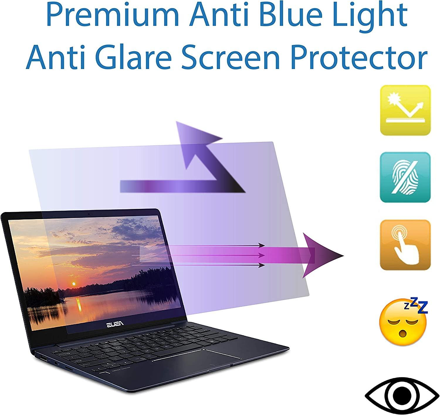 Anti Blue Light Screen Protector for 13.3 inch ASUS ZenBook 13 2 Pack