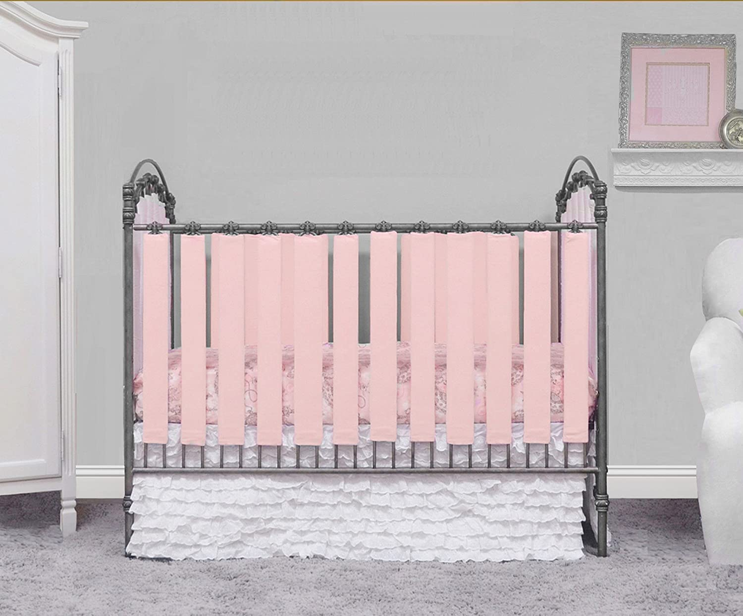 Pure Safety Vertical Crib Liners in Blush Cotton 24 Pack