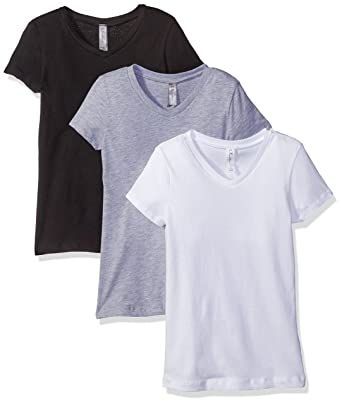 fc023bad Clementine Girl's Everyday V-Neck T-Shirt (Pack of 3): Amazon.co.uk ...