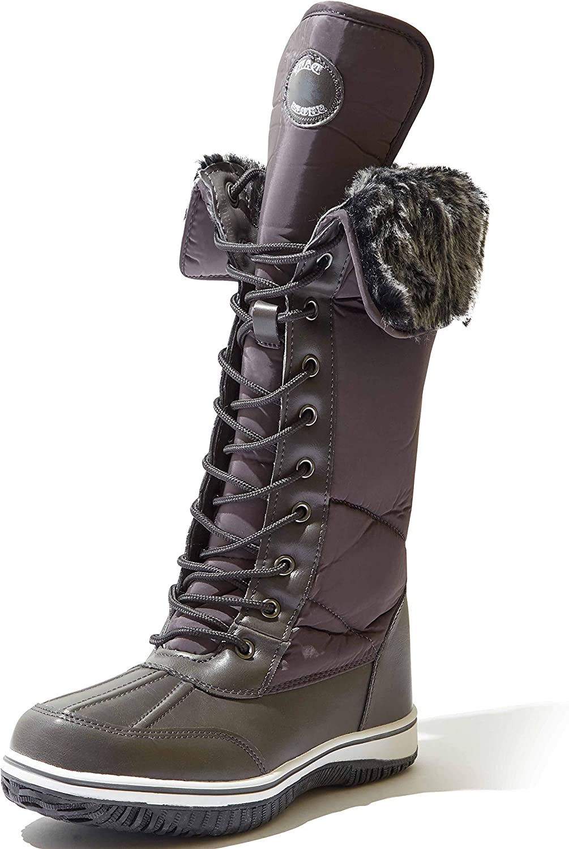 DailyShoes Women's Knee High 2-Tone Up D'cor Zipper Cowboy Warm Fur Water Resistant Eskimo Snow Boot