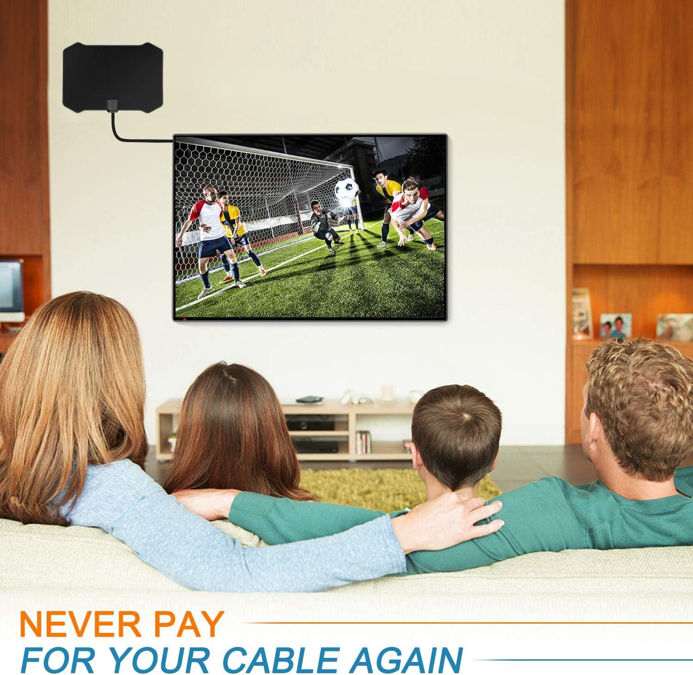 Antena de TV, Antena Interior HDTV DVB-T DVB-T2 TDT con Portatil Amplificador, 120 Millas Gama de Recepción, Obtenga Muchos Canales de TV Gratis, ...