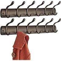 mDesign porte manteau en acier pour le couloir ou la chambre – patère avec 6 crochets – porte manteau mural pour le rangement de manteaux, vestes, écharpes, foulards – couleur : bronze - Paquet de 2