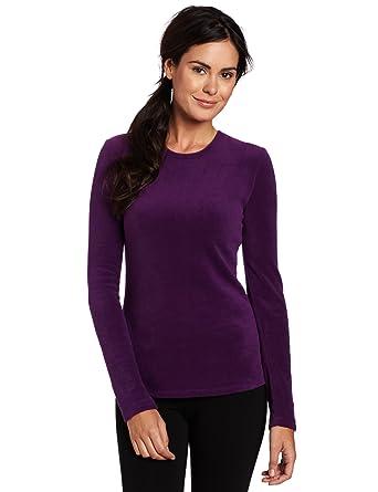 66e8bbcd095 Cuddl Duds Women's Fleecewear Long Sleeve Crew Neck Sweater, Deep Purple,  Small