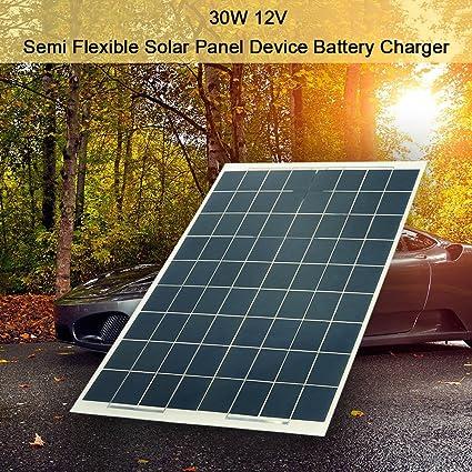 Hylotele 30W 12V Panel Solar Semi Flexible Cargador Solar ...