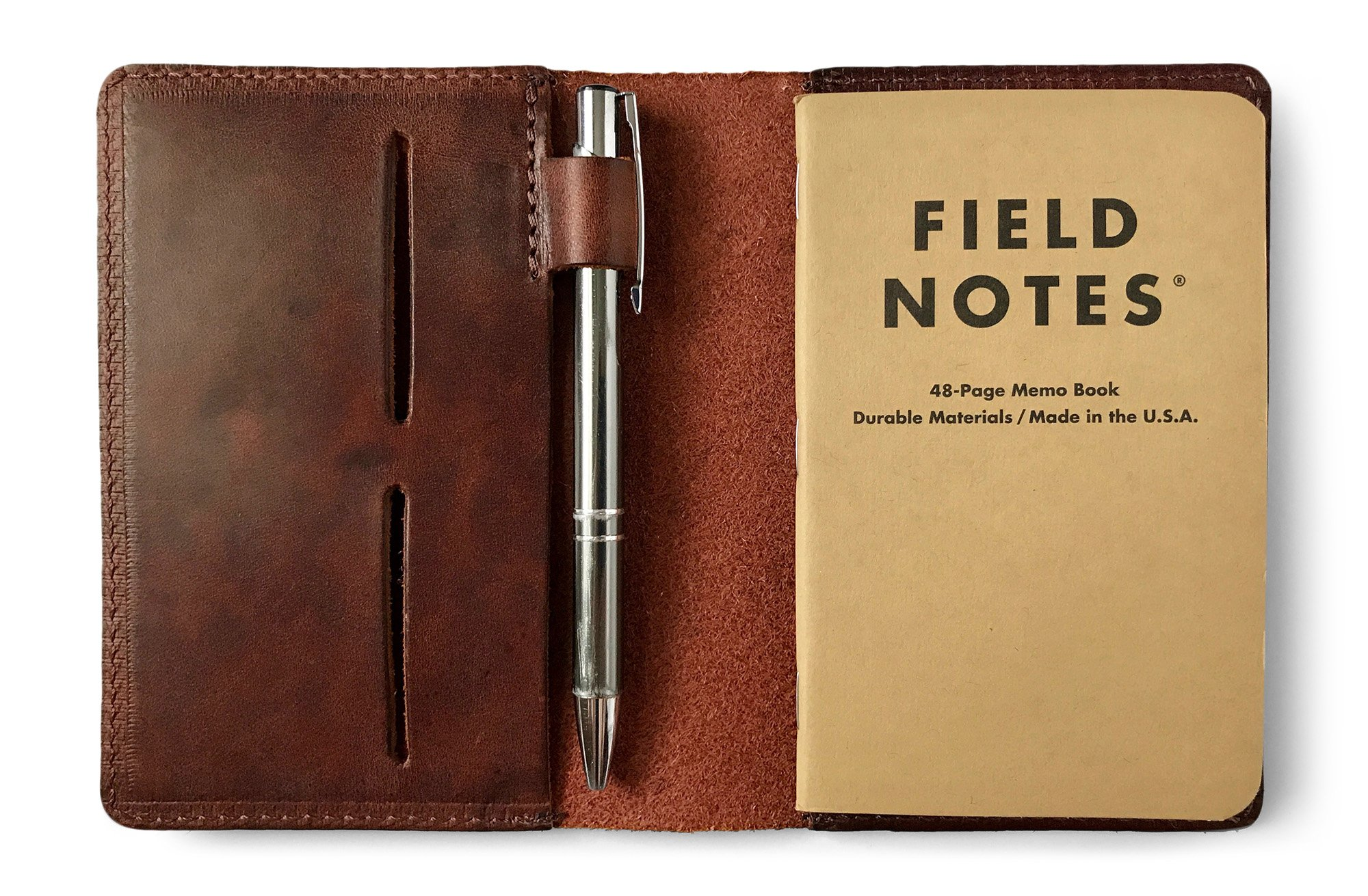 Full Grain Leather Field Notes Notebook Cover Wallet with Pen Holder - Handcrafted in USA by Jackson Wayne - Fits 3.5'' x 5.5'' Journals (Vintage Brown)