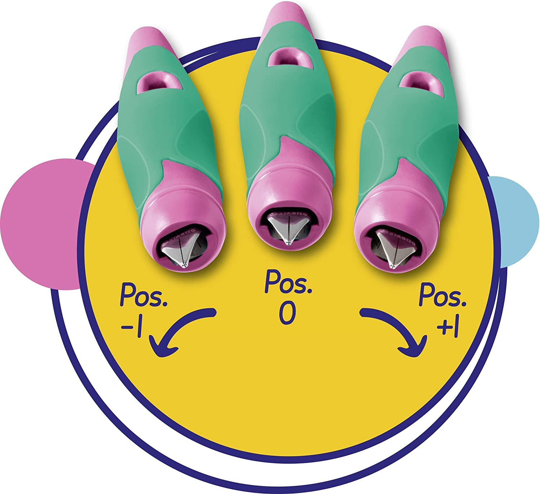 Ergonomischer Schulf/üller f/ür Rechtsh/änder mit Anf/änger-Feder A inklusive Patrone und Einstellwerkzeug STABILO EASYbirdy in beere//pink