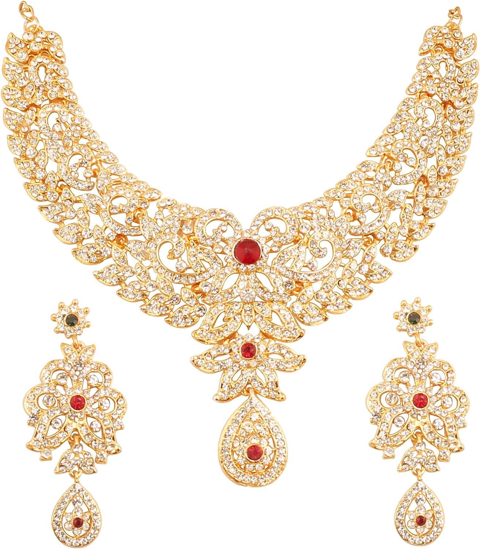 Touchstone Hollywood Glamour Blanco Bonita Filigrana rines con Diamantes tachonados diseñador de Joyas Nupciales Conjunto de Collar hasli para Mujer