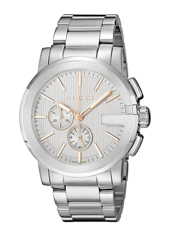4c97904f34d Amazon.com  Gucci G - Chrono Collection Analog Display Swiss Quartz Silver Men s  Watch(Model YA101201)  Watches