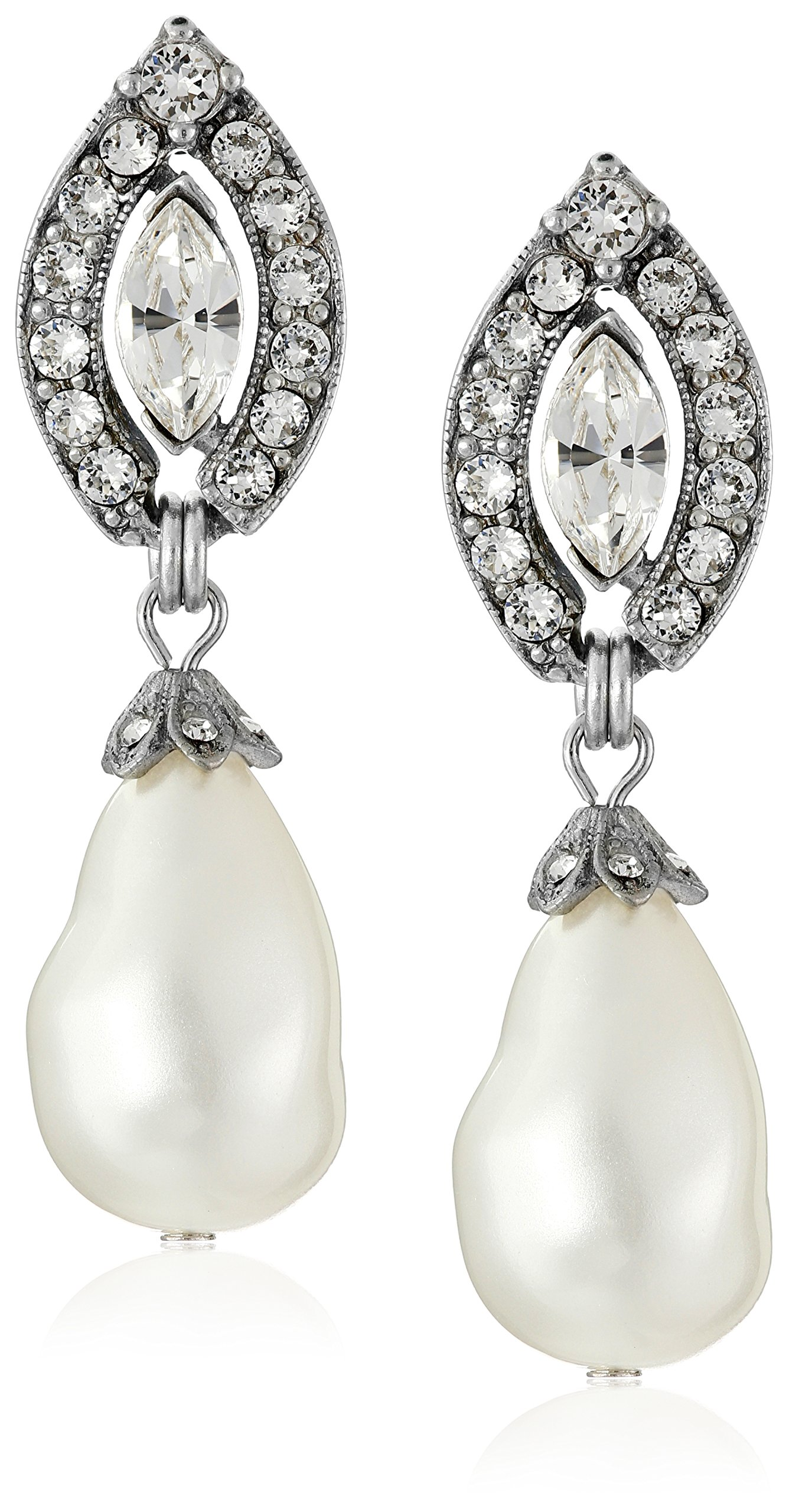 Ben-Amun Jewelry Swarovski Crystal Marquise Cut Glass Pearl Drop Earrings for Bridal Wedding Anniversary