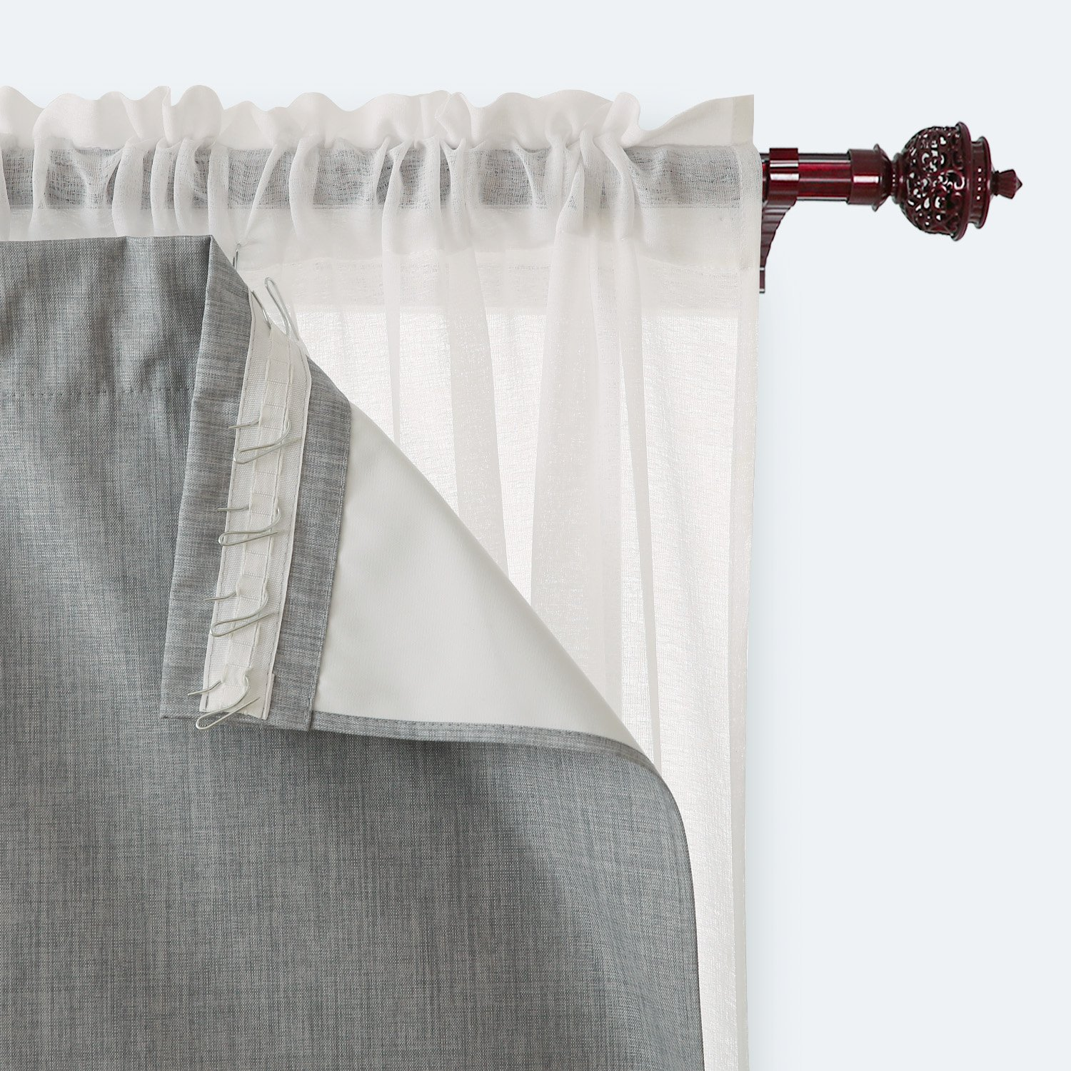 Deconovo Blackout Curtain Liner Rod Pocket Curtains with Foam Back Curtains for Kids Room Light Grey 27 Inch By 92 Inch 2 Panels Curtain Hooks Included