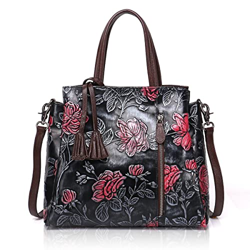 APHISON Designer Unique Embossed Floral Cowhide Leather Tote Style Ladies  Top Handle Bags Handbags (Black 27a3e621097ac
