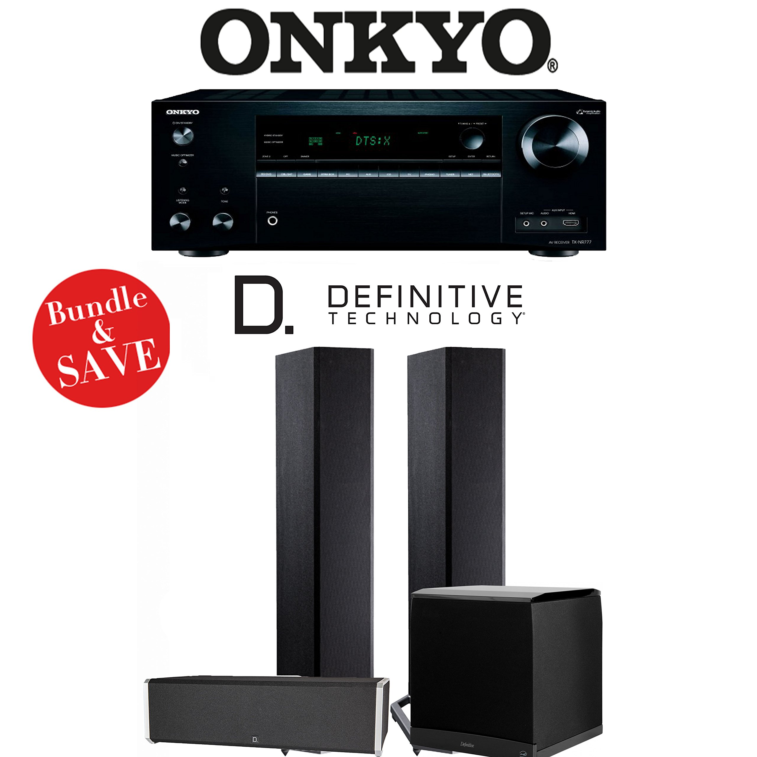 Definitive Technology BP9020 3.1-Ch High Performance Home Theater Speaker System with Onkyo TX-NR777 7.2-Ch 4K Network A/V Receiver
