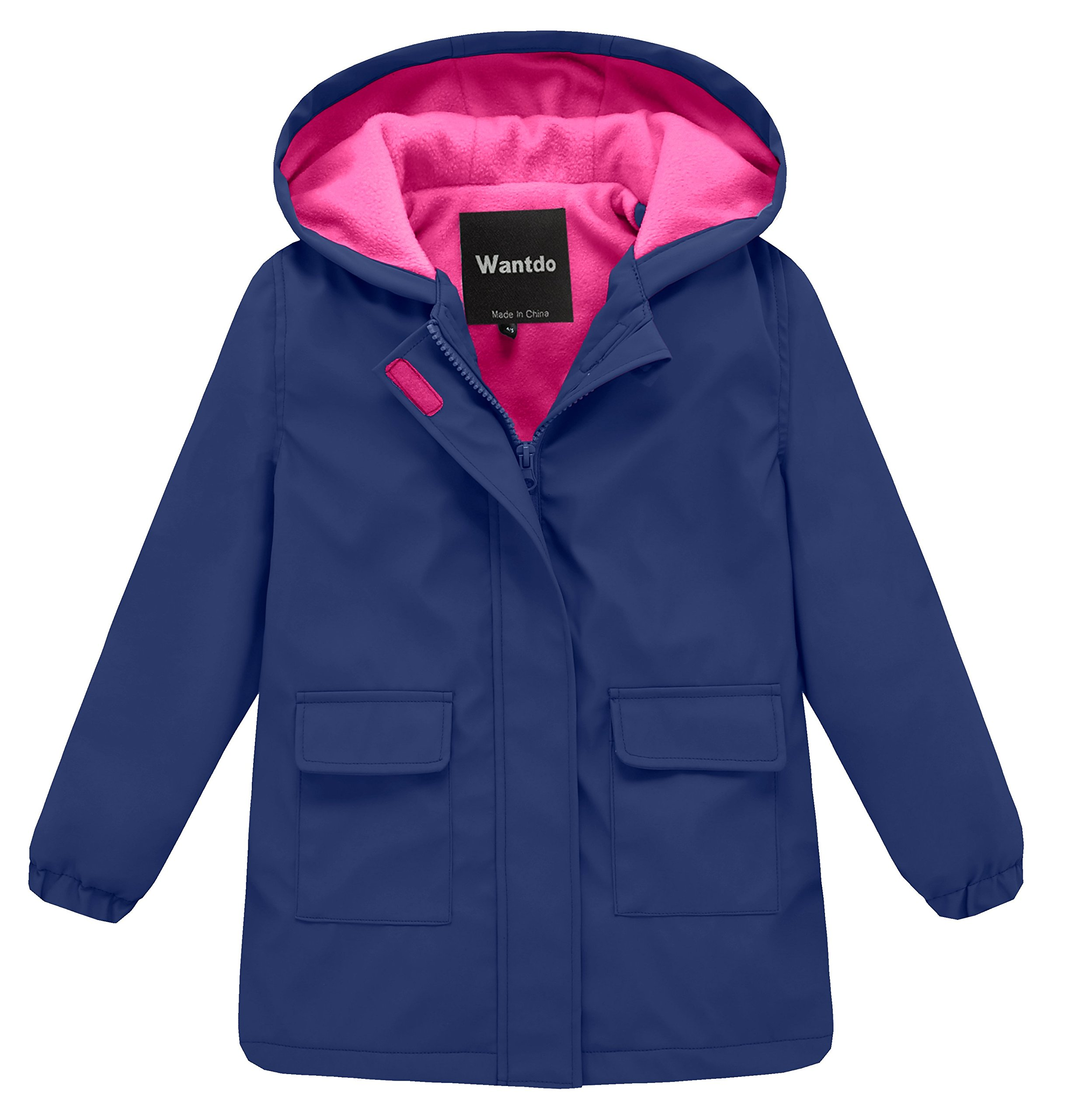 Wantdo Girl's and Boy's Hooded Rain Jacket Waterproof Fleece Lined Windbreaker(Navy, 4-5Y) by Wantdo