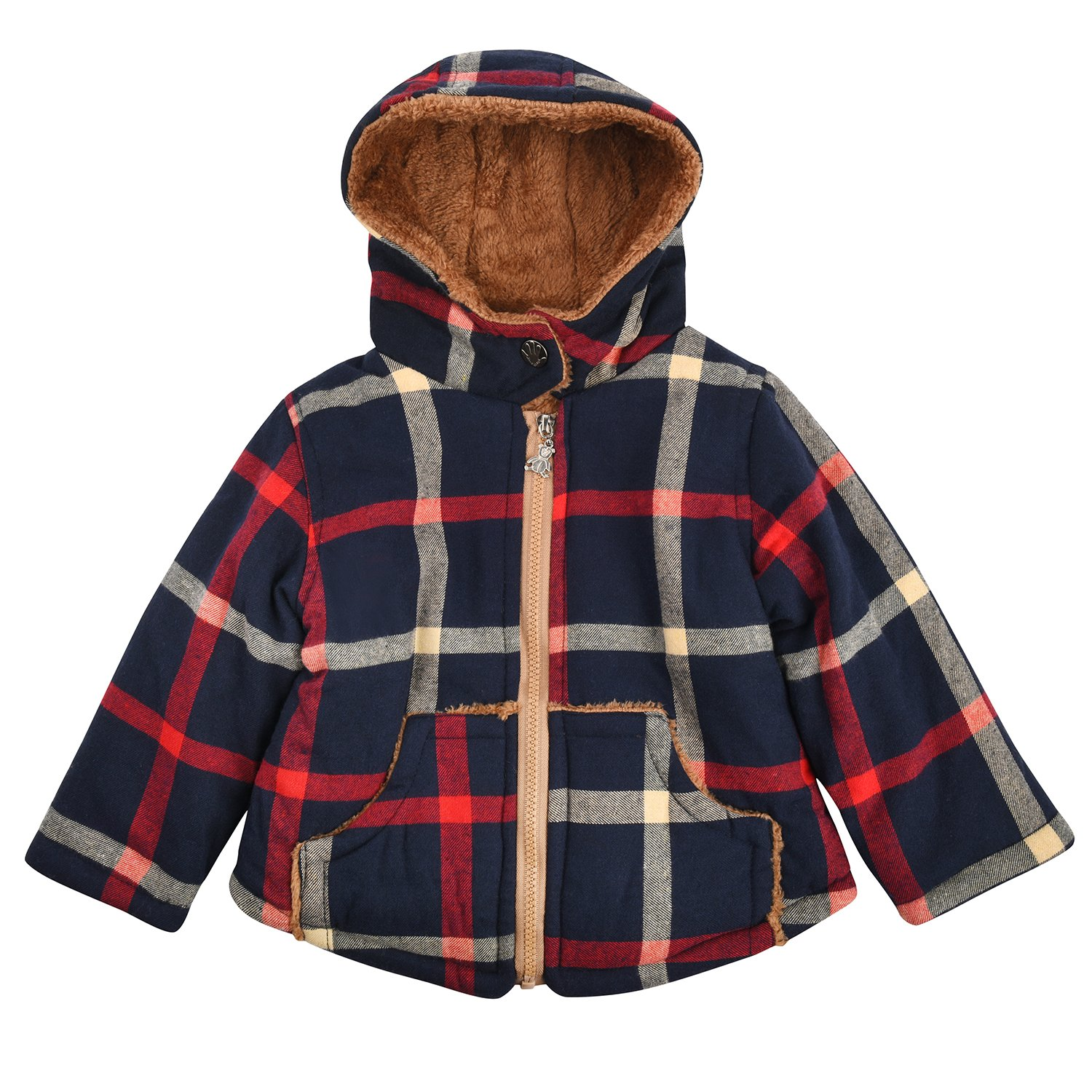 Little Hand Baby Boys Fleece Lined Zip up Hooded Winter Coat Navy Plaid Jacket 20171031A02
