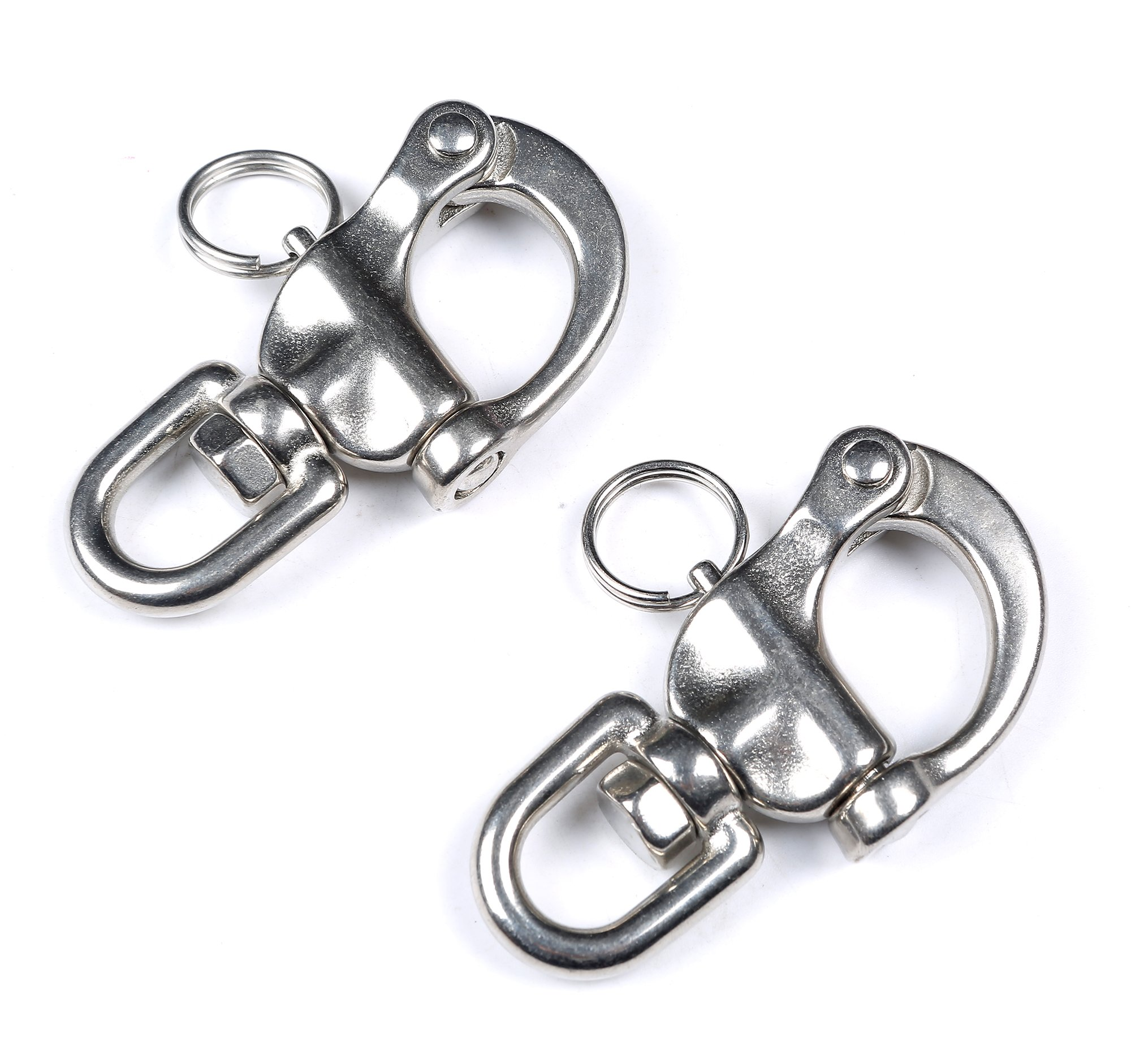Mxeol Swivel Eye Snap Shackle Quick Release Bail Rigging Sailing Boat Marine Stainless Steel Clip Pair (2-3/4'' Pair)