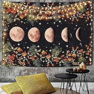 Moon Phase Tapestry Moonlit Garden Tapestry Flower Vine Tapestries Black Background Star Tapestry for Room(51.2 x 59.1 inches)