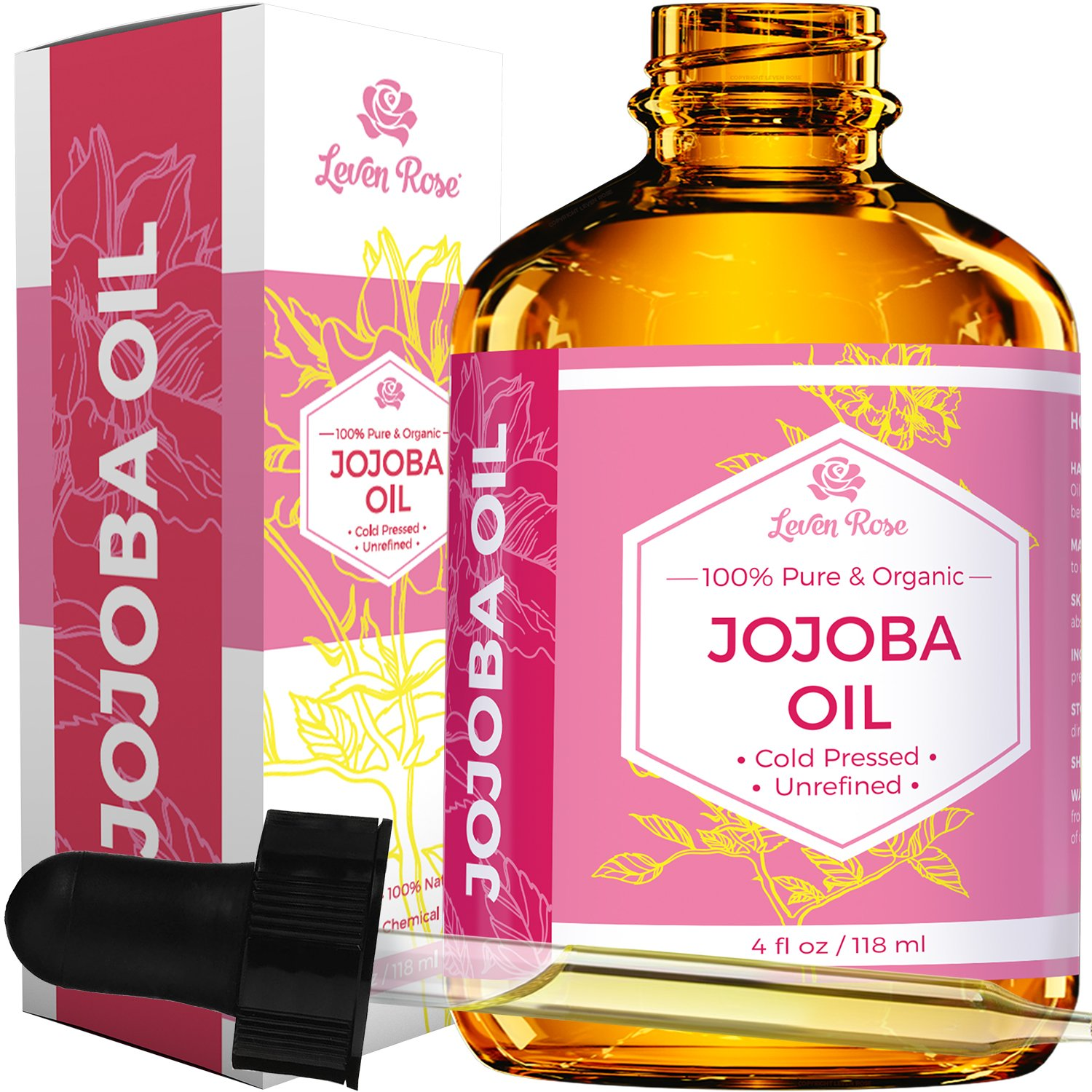 Jojoba Oil by Leven Rose, Pure Cold Pressed Natural Unrefined Moisturizer for Skin Hair and Nails 4 oz (Jojoba)