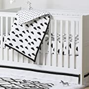 Black and White Cloud Print 3 Piece Baby Crib Bedding Set by The Peanut Shell