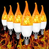 E12 Flame Bulb LED Candelabra Flame Bulbs,1.2 Watt Warm White LED Chandelier Bulbs ,3 Modes Flame Light Bulbs -for Festival/H