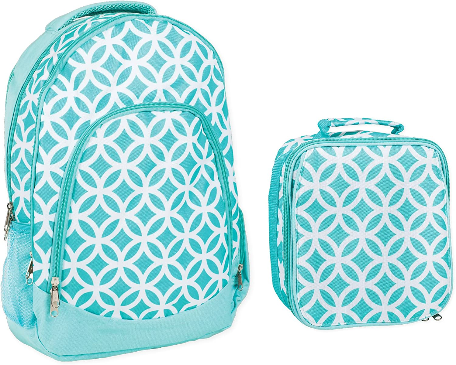 Reinforced Water Resistant School Backpack and Insulated Lunch Bag Set- Aqua Circle Link