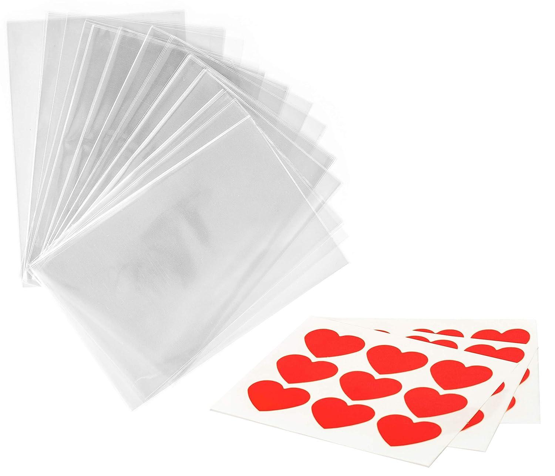 100 x Bolsas Celofán Transparentes con pegatinas ❤ - 15 x 20 cm Bolsitas de Regalo para Fiesta Boda Baby Shower Cumpleaños Navidad San Valentín Seguro ...