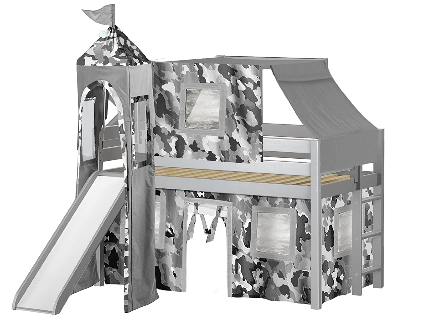 JACKPOT! Castle Low Loft Bed with Slide Gray Camo Tent and Tower, Loft Bed, Twin, Gray Maxwood