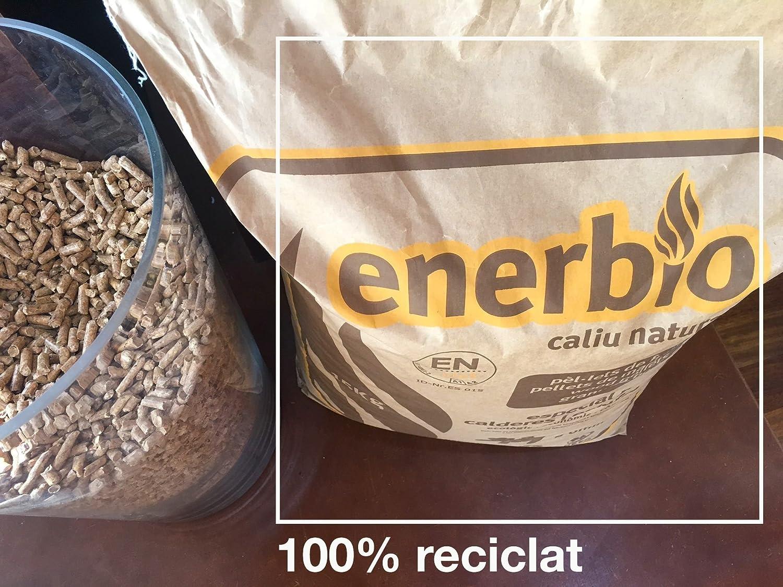 Enerbío; Saco papel de pellets 15 kg. Certificado ENPlusA1. Para estufas y calderas