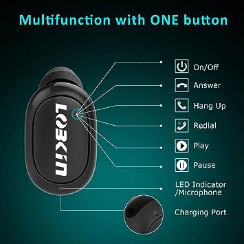 LOBKIN auricular mini Bluetooth, auricular inalámbrico ultra-ligero con tiempo de reproducción de 5,5 horas, auricular Bluetooth V4.1 con cancelación de ruido y Micrófono compatible con Iphone 7 Plus Samsung Huawei y otros