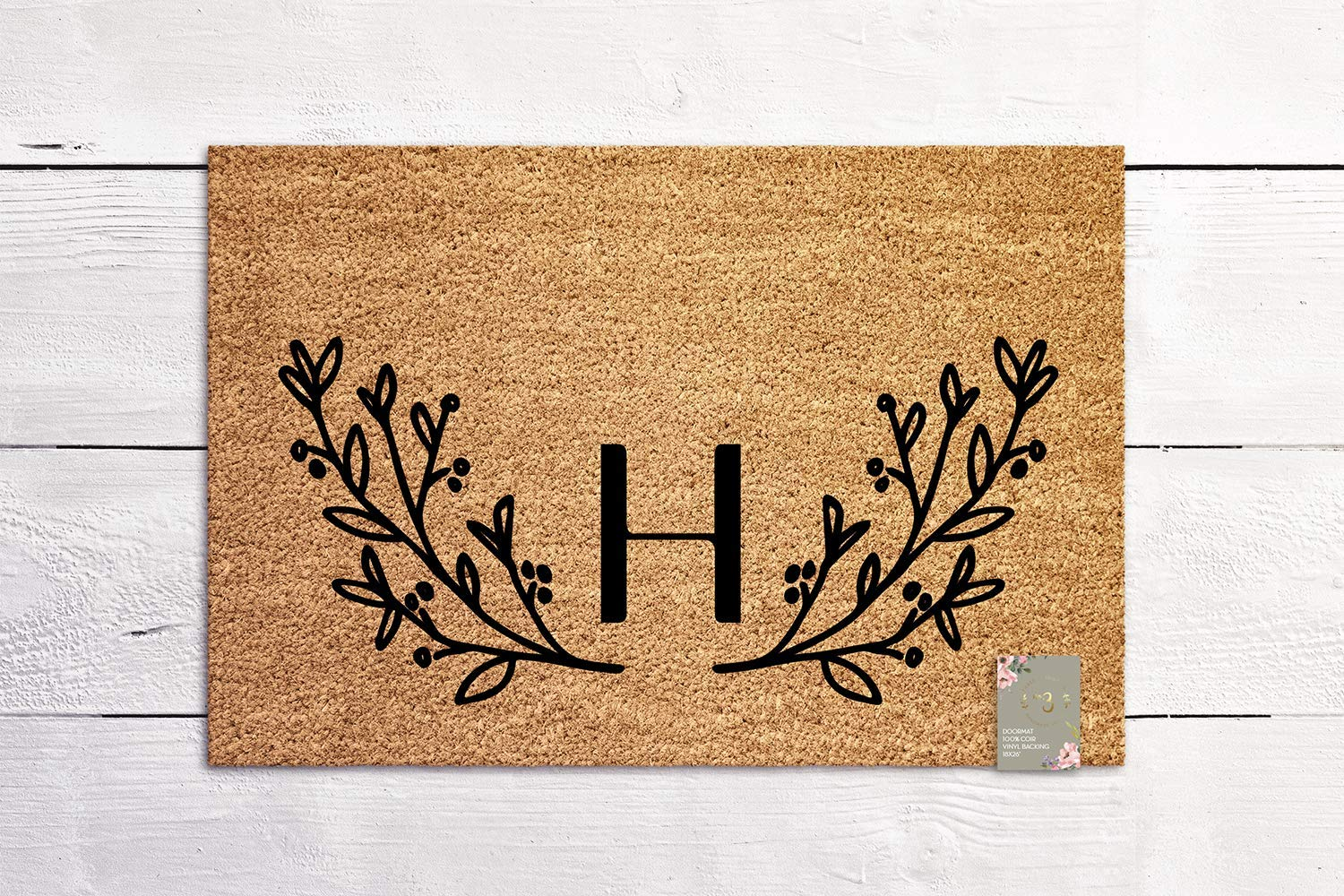 Laurel Wreath Monogram Door Mat Welcome Mat Housewarming Gift New Home Gift Personalized Wedding Gift Coir Mat Outdoor Doormat Cute Doormat