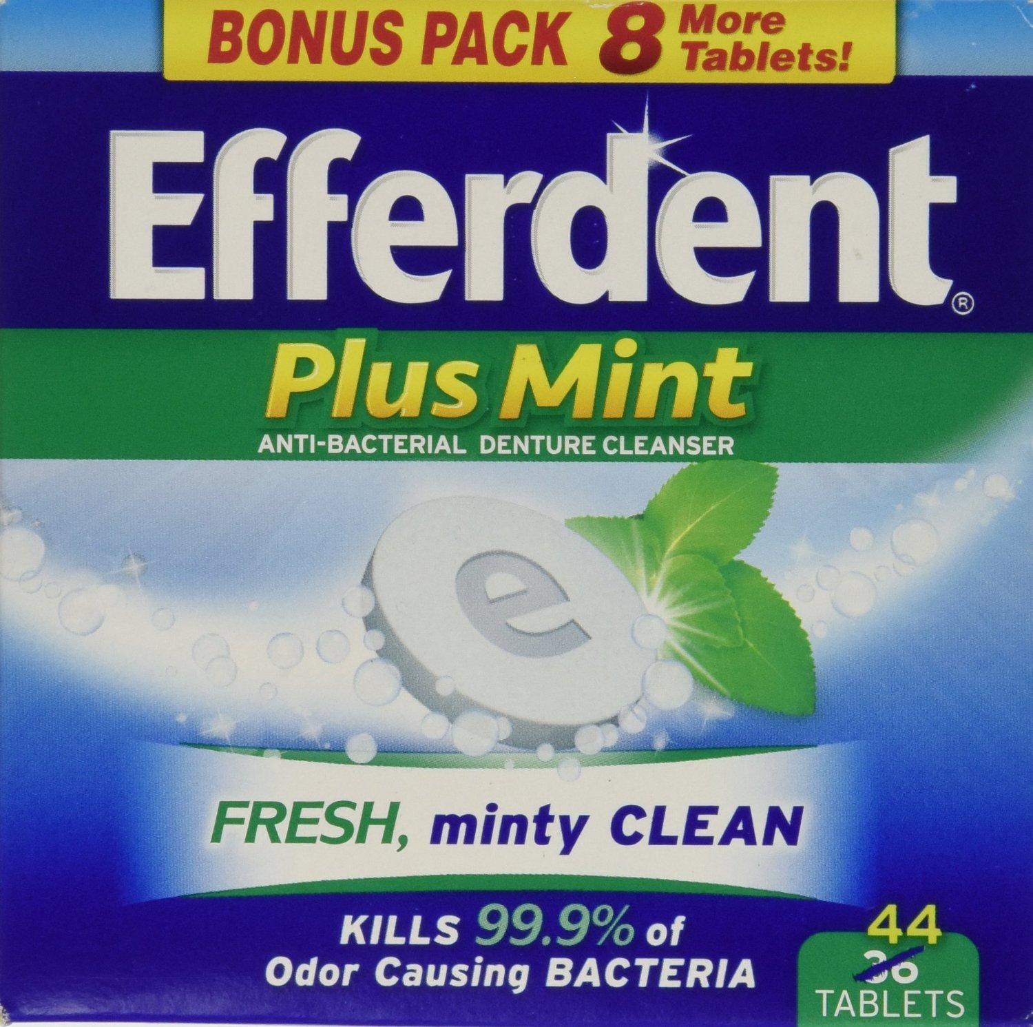 Efferdent Plus Mint Anti-Bacterial Denture Cleanser Tablets, 44 Count (Pack of 6) by Efferdent