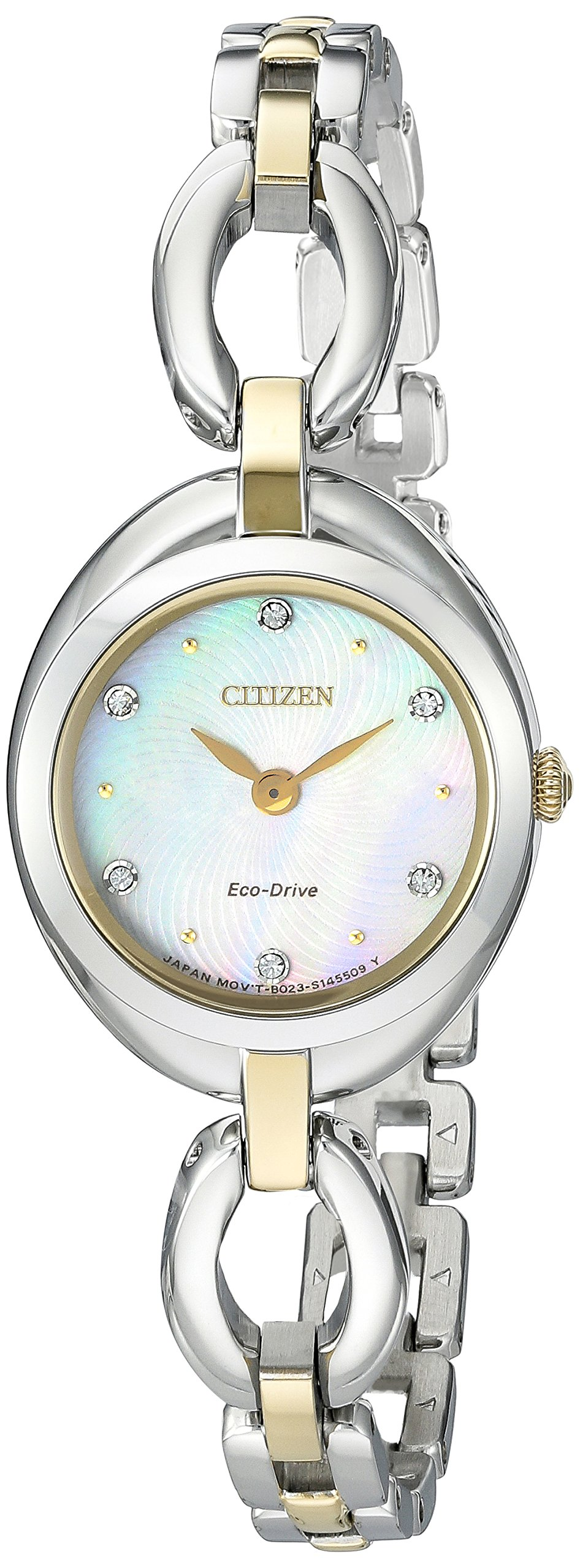 Citizen Eco-Drive Women's 'Silhouette' Quartz Stainless Steel Casual Watch, Color: Two Tone (Model: EX1434-55D)
